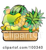Royalty Free RF Clipart Illustration Of A Basket Of Tropical Fruits