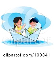 Royalty Free RF Clipart Illustration Of A Boy And Girl In A Paper Boat