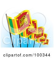 Royalty Free RF Clipart Illustration Of A Row Of Sri Lankan Flags