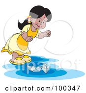 Royalty Free RF Clipart Illustration Of A Little Girl Playing With Paper Boats
