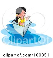 Royalty Free RF Clipart Illustration Of A Little Girl Floating In A Small Boat