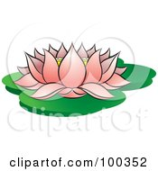 Royalty Free RF Clipart Illustration Of A Blooming Pink Lotus On Lily Pads