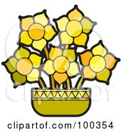 Royalty Free RF Clipart Illustration Of Yellow Potted Flowers