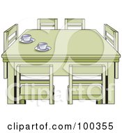 Royalty Free RF Clipart Illustration Of Tea Cups On A Table With Chairs by Lal Perera