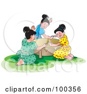 Royalty Free RF Clipart Illustration Of A Group Of Girls Beating A Tambourine For Sinhala New Year by Lal Perera