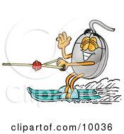 Computer Mouse Mascot Cartoon Character Waving While Water Skiing