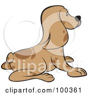 Royalty Free RF Clipart Illustration Of A Brown Puppy Dog Facing Right by Lal Perera