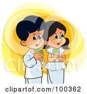 Royalty Free RF Clipart Illustration Of Sinhala Children Celebrating New Year by Lal Perera