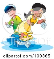 Royalty Free RF Clipart Illustration Of A Boy And Girl Playing With Paper Boats
