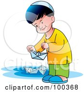 Royalty Free RF Clipart Illustration Of A Little Boy Playing With Paper Boats