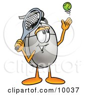 Computer Mouse Mascot Cartoon Character Preparing To Hit A Tennis Ball