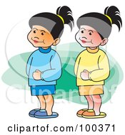 Royalty Free RF Clipart Illustration Of Two Twin Girls