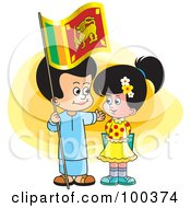Royalty Free RF Clipart Illustration Of Sinhala Children With A Sri Lanka Flag