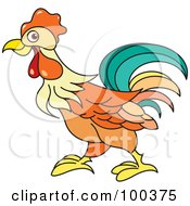 Royalty Free RF Clipart Illustration Of An Orange Rooster Running Left by Lal Perera