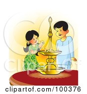 Royalty Free RF Clipart Illustration Of Sinhala Children Lighting An Oil Lamp by Lal Perera