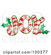 Royalty Free RF Clipart Illustration Of Red Green And White Candy Canes Forming The Word JOY With Holly
