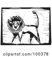 Royalty Free RF Clipart Illustration Of A Black And White Engraved Wooden Plaque Of A Safari Lion