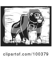 Royalty Free RF Clipart Illustration Of A Black And White Engraved Wooden Plaque Of A Safari Gorilla