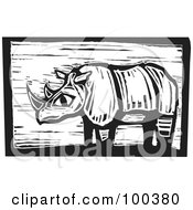 Royalty Free RF Clipart Illustration Of A Black And White Engraved Wooden Plaque Of A Safari Rhino