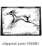 Royalty Free RF Clipart Illustration Of A Black And White Engraved Wooden Plaque Of A Running Safari Antelope by xunantunich