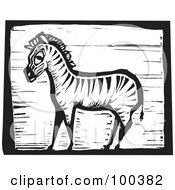 Royalty Free RF Clipart Illustration Of A Black And White Engraved Wooden Plaque Of A Safari Zebra by xunantunich