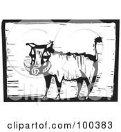 Royalty Free RF Clipart Illustration Of A Black And White Engraved Wooden Plaque Of A Safari Warthog