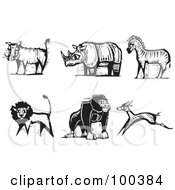 Royalty Free RF Clipart Illustration Of A Digital Collage Of Carved Styled Black And White Safari Boar Rhino Zebra Lion Gorilla And Antelope