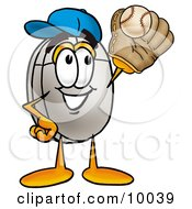 Clipart Picture Of A Computer Mouse Mascot Cartoon Character Catching A Baseball With A Glove by Toons4Biz