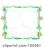 Royalty Free RF Clipart Illustration Of A Flower Frame With Hibiscus Flowers And Green Leaves