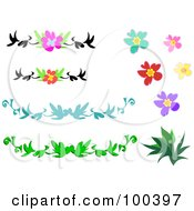 Royalty Free RF Clipart Illustration Of A Digital Collage Of Hibiscus Borders And Plants
