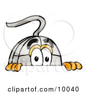 Clipart Picture Of A Computer Mouse Mascot Cartoon Character Peeking Over A Surface
