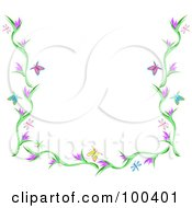 Royalty Free RF Clipart Illustration Of A Butterfly Dragonfly And Flower Border