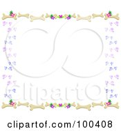 Royalty Free RF Clipart Illustration Of A Dog Bone Paw Print Heart And Flower Border by bpearth