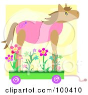 Royalty Free RF Clipart Illustration Of A Wheeled Horse With Flowers by bpearth