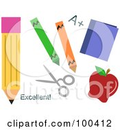 Digital Collage Of School Pencils Crayons A Book Scissors And Apple