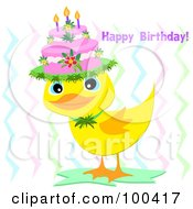 Royalty Free RF Clipart Illustration Of A Yellow Duckling Wearing A Cake Cat With A Happy Birthday Greeting by bpearth