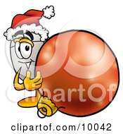 Computer Mouse Mascot Cartoon Character Wearing A Santa Hat Standing With A Christmas Bauble