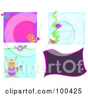 Royalty Free RF Clipart Illustration Of A Digital Collage Of Rabbit And Floral Frames by bpearth