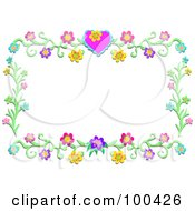 Royalty Free RF Clipart Illustration Of A Heart Flower Vine Frame