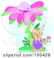Royalty Free RF Clipart Illustration Of A Rabbit Under A Giant Pink Cone Flower by bpearth