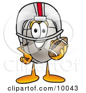 Clipart Picture Of A Computer Mouse Mascot Cartoon Character In A Helmet Holding A Football by Toons4Biz