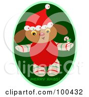 Royalty Free RF Clipart Illustration Of A Merry Christmas Puppy Holding A Candy Cane by bpearth