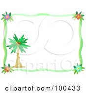 Royalty Free RF Clipart Illustration Of A Green Hibiscus Border With A Palm Tree