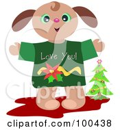 Royalty Free RF Clipart Illustration Of A Christmas Puppy Wearing A Love You Shirt By A Tree by bpearth