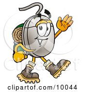 Computer Mouse Mascot Cartoon Character Hiking And Carrying A Backpack
