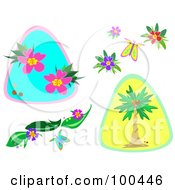 Royalty Free RF Clipart Illustration Of A Digital Collage Of Tropical Flowers Butterflies And Palm Trees by bpearth