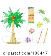 Royalty Free RF Clipart Illustration Of A Digital Collage Of Tropical Tiki Palm Tree Bamboo And Flowers by bpearth