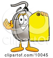 Clipart Picture Of A Computer Mouse Mascot Cartoon Character Holding A Yellow Sales Price Tag