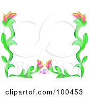 Flower Frame With A Heart And Swirl