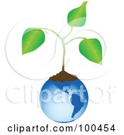 Royalty Free RF Clipart Illustration Of A Blue American Globe With Soil And An Organic Plant by tdoes